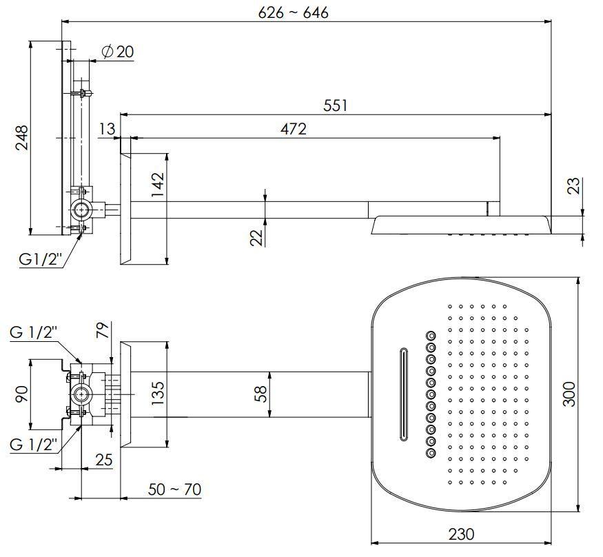 STEINBERG - Hlavová sprcha, včetně ramena na stěnu, 3 funkce, chrom  (390 7723)