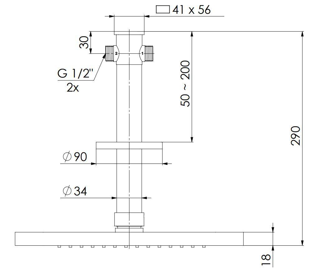 STEINBERG - Relaxační stropní déšť, 2 funkce, vč. stropního ramene, chrom  (390 7721)