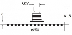STEINBERG - Hlavová sprcha 250x8mm, Easy-clean systém, kartáčovaný nikl  (100 1686 BN), fotografie 4/2