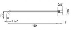 STEINBERG - Nástěnné sprchové rameno 450mm, chrom (100 7910), fotografie 6/3