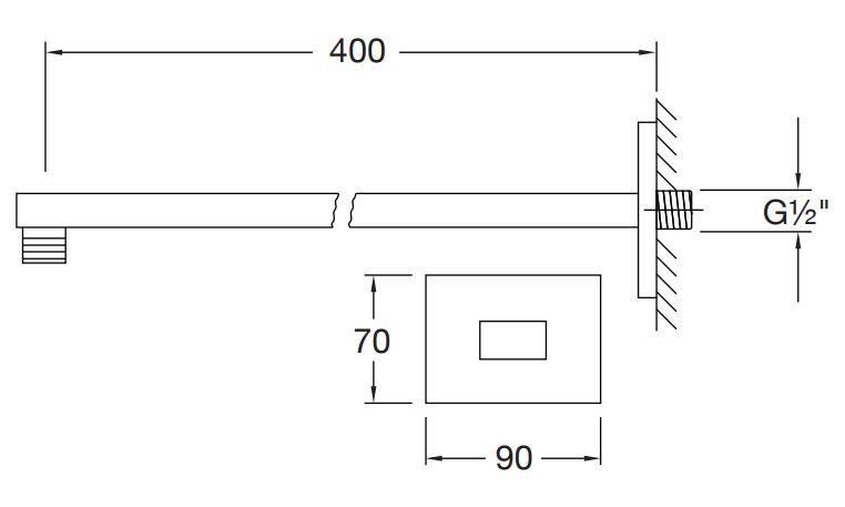 STEINBERG - Nástěnné sprchové rameno 400mm, černá mat  (120 7910 S)
