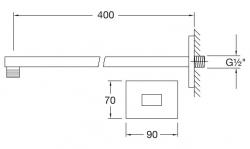 Nástěnné sprchové rameno 400mm, černá mat  (120 7910 S) - STEINBERG, fotografie 4/4