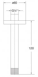 STEINBERG - Sprchové rameno 120 mm, černá mat  (100 1571 S), fotografie 2/1