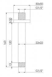STEINBERG - Stropní sprchové rameno 120 mm, chrom (120 1571), fotografie 4/2