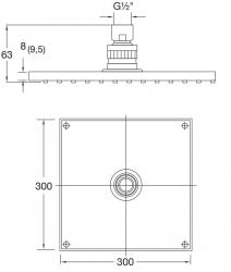 STEINBERG - Sprchová hlavice 300x300x8 mm, chrom (120 1686), fotografie 10/5