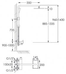 STEINBERG - Sprchová souprava bez baterie /hlavová sprcha, ruční sprcha, rameno/, chrom (100 2770), fotografie 8/4