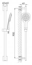 STEINBERG - Sprchová souprava se sprchovou tyčí 900 mm (120 1621), fotografie 2/1