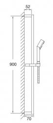STEINBERG - Sprchová souprava s tyčí 900 mm, ruční sprcha 3 funkce, hadice 1800 mm, chrom (135 1622), fotografie 2/1