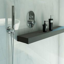 STEINBERG - Sprchová souprava, chrom (držák ruční sprchy s přívodem vody, ruční sprcha, kovová hadice) (100 1670), fotografie 10/6