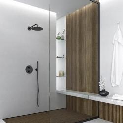 Sprchová souprava, černá mat (držák ruční sprchy s přívodem vody, ruční sprcha, plastová hadice) (100 1670 S) - STEINBERG, fotografie 6/5