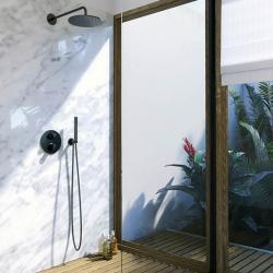Sprchová souprava, černá mat (držák ruční sprchy s přívodem vody, ruční sprcha, plastová hadice) (100 1670 S) - STEINBERG, fotografie 8/5