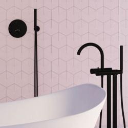 Sprchová souprava, černá mat (držák ruční sprchy s přívodem vody, ruční sprcha, plastová hadice) (100 1670 S) - STEINBERG, fotografie 2/5