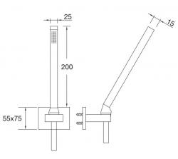 STEINBERG - Sprchová souprava, chrom (nástěnný držák, ruční sprcha, kovová hadice) (135 1650), fotografie 2/1