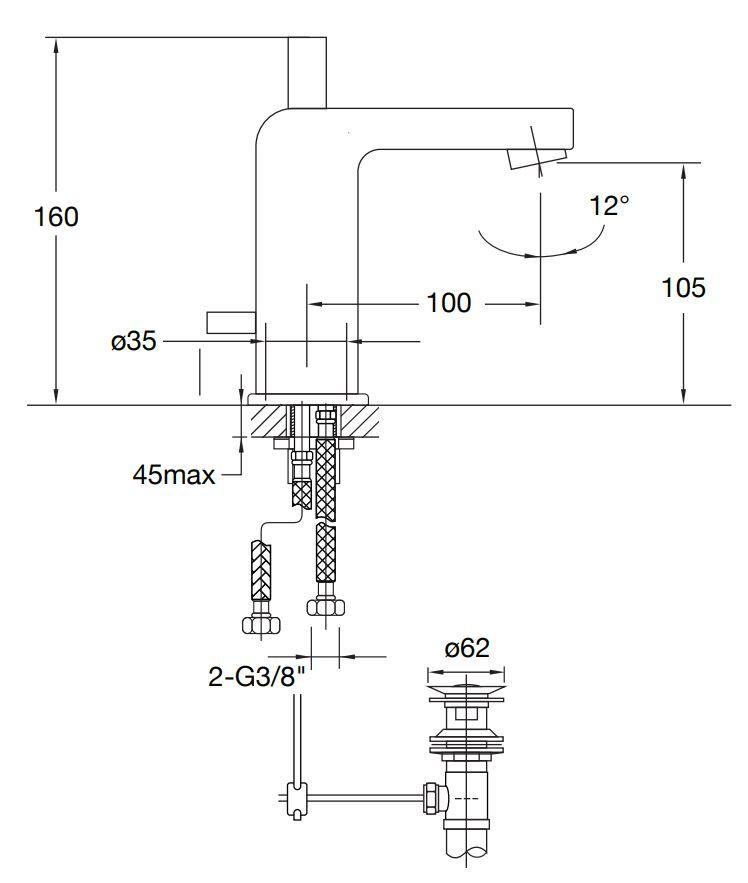 STEINBERG - Umyvadlová páková baterie s výpustí, chrom (120 1000)