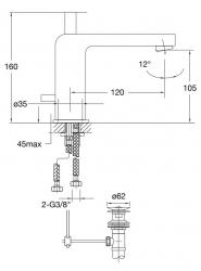 STEINBERG - Umyvadlová páková baterie s výpustí, chrom (120 1020), fotografie 20/10