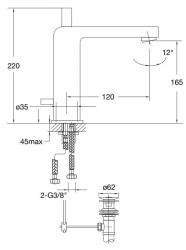STEINBERG - Umyvadlová páková baterie s výpustí, chrom (120 1755), fotografie 24/12