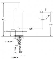 STEINBERG - Umyvadlová páková baterie bez výpusti, chrom (120 1750), fotografie 16/8