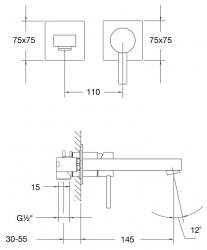 STEINBERG - Nástěnná páková umyvadlová baterie včetně montážního tělesa, chrom (120 1801), fotografie 8/4