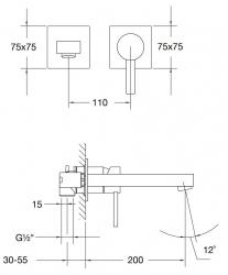 STEINBERG - Nástěnná umyvadlová baterie včetně montážního tělesa, chrom (120 1816), fotografie 10/5