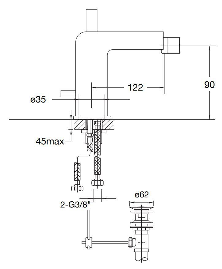 STEINBERG - Bidetová baterie s výpustí, chrom (120 1300)