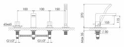 STEINBERG - Baterie na okraj vany 4-prvková, chrom (120 2400 1), fotografie 4/2