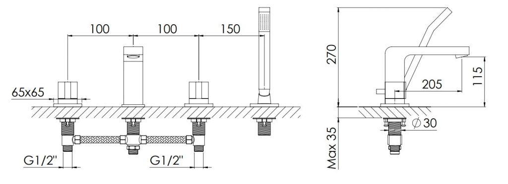 STEINBERG - Baterie na okraj vany 4-prvková, chrom (120 2402 1)