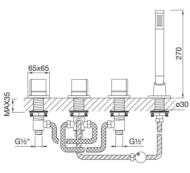 STEINBERG - Baterie na okraj vany 4-prvková, chrom (120 2480 1)