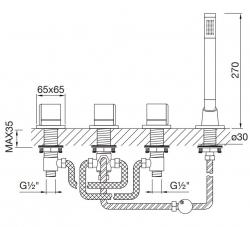 STEINBERG - Baterie na okraj vany 4-prvková, chrom (120 2480 1), fotografie 10/5