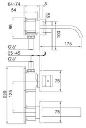 STEINBERG - Nástěnná umyvadlová baterie bez montážního tělesa, chrom (135 1804), fotografie 12/6