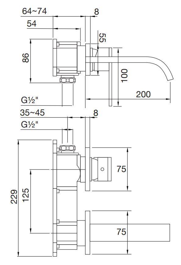 STEINBERG - Nástěnná umyvadlová baterie bez montážního tělesa, chrom (135 1814)