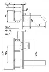 STEINBERG - Nástěnná umyvadlová baterie bez montážního tělesa, chrom (135 1854), fotografie 12/6