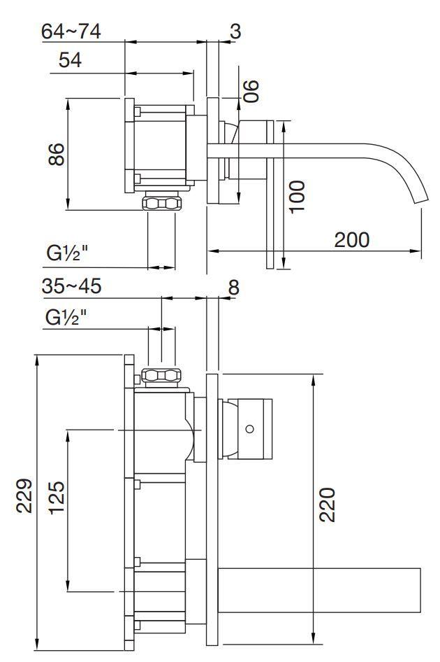 STEINBERG - Nástěnná umyvadlová baterie bez montážního tělesa, chrom (135 1864)