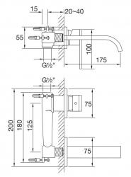 STEINBERG - Nástěnná umyvadlová baterie včetně podomítkového tělesa, chrom (135 1803), fotografie 10/5