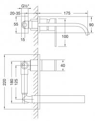 STEINBERG - Nástěnná umyvadlová baterie včetně podomítkového tělesa, chrom (135 1853), fotografie 12/6