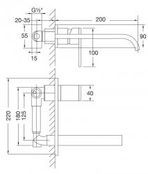 STEINBERG - Nástěnná umyvadlová baterie včetně podomítkového tělesa, chrom (135 1857), fotografie 10/5