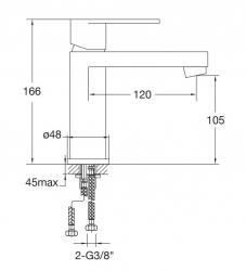 Umyvadlová baterie bez výpusti, chrom (170 1010 1) - STEINBERG, fotografie 14/7