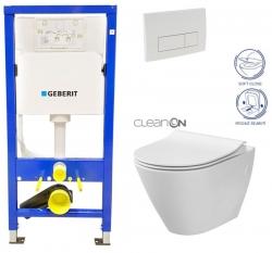 Duofix Sada pro závěsné WC 458.103.00.1 + tlačítko DELTA51 BÍLÉ + WC CERSANIT CLEAN ON CITY + SEDÁTKO (458.103.00.1 51BI CI1) - AKCE/SET/GEBERIT