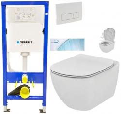 AKCE/SET/GEBERIT - SET Duofix Sada pro závěsné WC 458.103.00.1 + tlačítko DELTA51 BÍLÉ + WC TESI se sedátkem SoftClose, AquaBlade (458.103.00.1 51BI TE1)