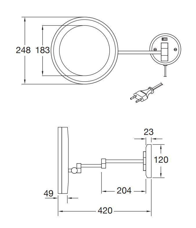 STEINBERG - Kosmetické zrcátko s LED osvětlením (650 9020)