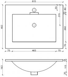 Amsterdam umyvadlová skříňka šíře 60, 1x šuplík, metallic +umyvadlo + galerka (CA.U1B.133.060UMG) - VÝPRODEJ, fotografie 26/13