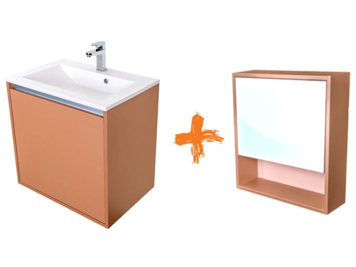 VÝPRODEJ Amsterdam umyvadlová skříňka šíře 60, 1x šuplík, metallic +umyvadlo + galerka CA.U1B.133.06