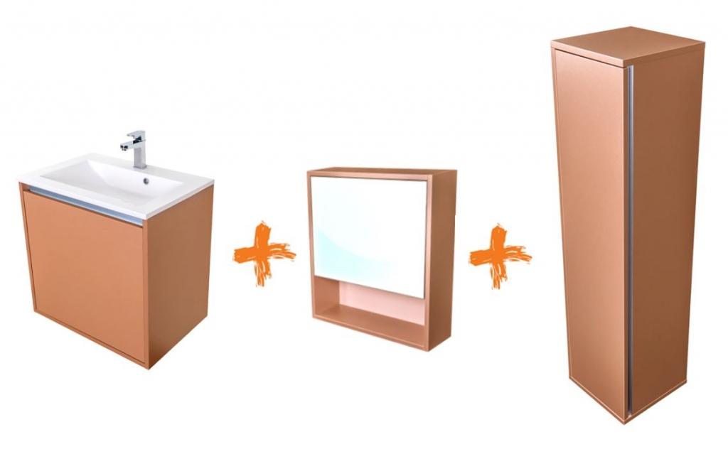 VÝPRODEJ Amsterdam umyvadlová skříňka šíře 60, 1x šuplík, metallic +umyvadlo + galerka + sloupek CA.