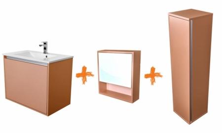 CEDERIKA - Amsterdam umyvadlová skříňka šíře 75, 1x šuplík, metallic +umyvadlo + galerka + sloupek (CA.U1B.133.075UMGS)