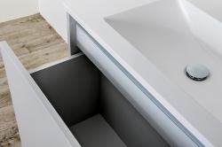 CEDERIKA - Amsterdam umyvadlová skříňka šíře 75, 1x šuplík, metallic +umyvadlo + galerka + sloupek (CA.U1B.133.075UMGS), fotografie 2/13