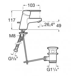 AKCE/ROCA - Umyvadlová stojánková páková baterie VICTORIA s automatickou zátkou (75A3025C00), fotografie 4/2