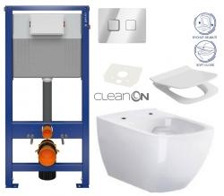 CERSANIT - SET ZÁVĚSNÁ WC MÍSA METROPOLITAN CLEANON  + PNEU NÁDRŽKA + OVLADAČ + WC SEDÁTKO (K701-267)
