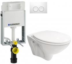 AKCE/SET/GEBERIT - SET KOMBIFIXBasic včetně ovládacího tlačítka DELTA 21 Bílé pro závěsné WC CERSANIT MITO + SEDÁTKO (110.100.00.1 21BI MI1)