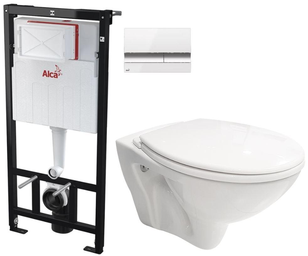 AKCE/SET/ALCAPLAST SET Sádromodul předstěnový instalační systém + tlačítko M1720-1 + WC CERSANIT MITO + SEDÁTKO AM101/1120 M1720-1 MI1