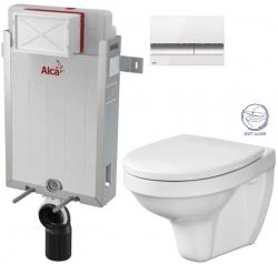 ALCAPLAST  Renovmodul - předstěnový instalační systém s bílým/ chrom tlačítkem M1720-1 + WC CERSANIT DELFI + SOFT SEDÁTKO (AM115/1000 M1720-1 DE2)