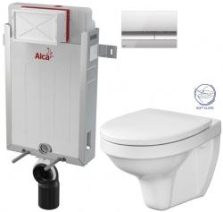AKCE/SET/ALCAPLAST - SET Renovmodul - předstěnový instalační systém + tlačítko M1721 + WC CERSANIT DELFI + SOFT SEDÁTKO (AM115/1000 M1721 DE2)